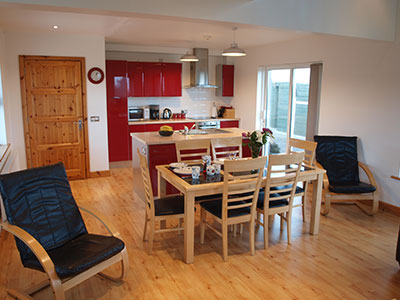 Open Plan Kitchen & Dining Area at 8 Gables Self Catering Accommodation, Sligo, Ireland